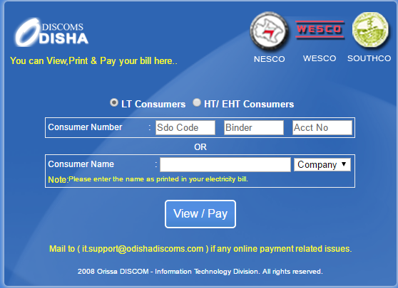 Online Electricity Bill Payment Odisha Process By